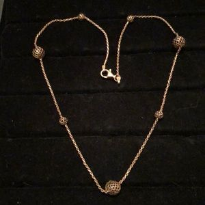 """Jewelry - Sterling Silver Rope/Weave Ball Necklace 16"""""""